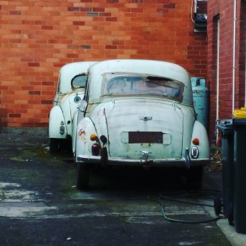 Two marvellous - but neglected - Morris Minors I saw in Battery Point, Hobart. Two classics in one place!