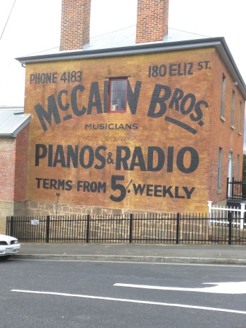 Ghost sign - piano store, Cascade Road in South Hobart