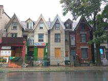 Toronto's unusual land division means there are lots of thin houses like this; and many are old businesses...