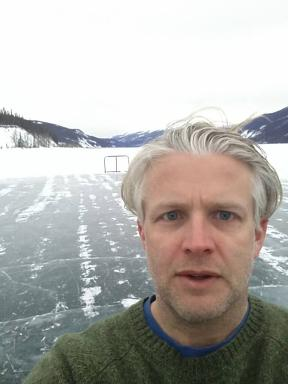 Me on the frozen Muncho Lake - this is their ice hockey rink