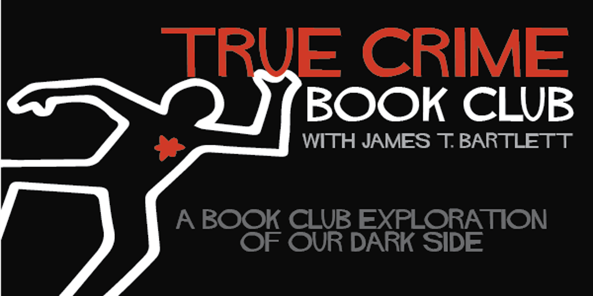 True Crime Book Club dead body outline logo